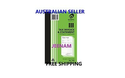 Olympic 725 Carbonless Triplicate Tax Invoice & Statement Book + FREE SHIPPING