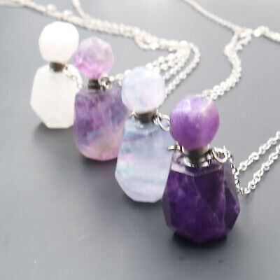 Natural Fluorite Crystal Quartz Necklace Perfume Bottle Pendant Healing Stone