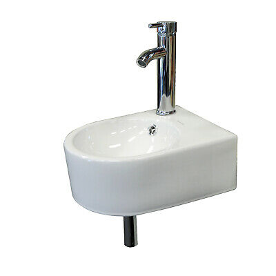 Right Corner Bathroom Wall Mount Sink Faucet Porcelain Make Up No Need Bracket