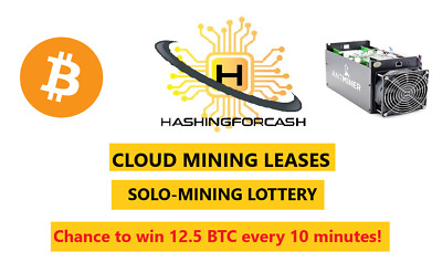 24 Hour 14TH/s Bitcoin Crypto Lottery Antminer S9 Cloud Rental BTC SOLO LOTTO