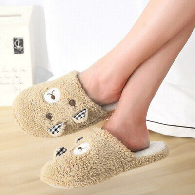 Couple's Warm Floor Slippers Cute Bear/Pig Soft Plush Anti-skid Indoor Shoes New
