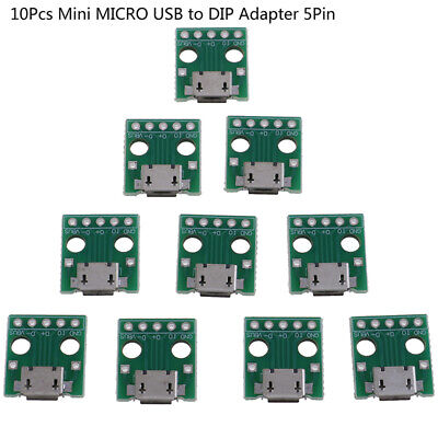 10Pcs MICRO USB to DIP Adapter 5Pin Female Connector PCB Converter Boar TVK