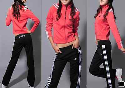 Adidas Red/Pink & White Tracksuit Jacket and Black/White Striped Pants Size 8