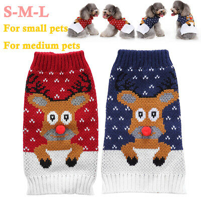 Christmas Pet Dog Puppy Clothes Red Nose Elk Knit Sweater Jumper Pullover Outfit