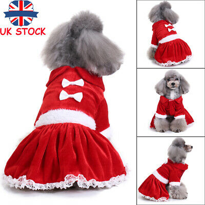 Christmas Pet Puppy Dog Cat Santa Claus Costume Outfits Clothes Fancy Dress S-XL