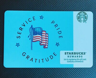 2019 NEW STARBUCKS MILITARY Service Pride Gratitude Gift Card Veterans Day
