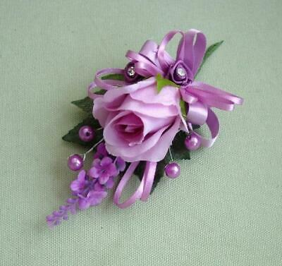 New Lilac Rose Corsage Buttonhole Bride Groom Mums Wedding Anniversary Flowers
