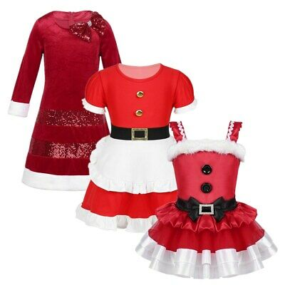 Girls Christmas Dress Santa Swing Dress Festival Costume Xmas Party Outfit Gifts