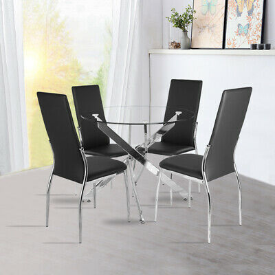 Black/Clear Glass Top Round Dining Table 2/4 Chairs High Back Cross Tube Legs UK