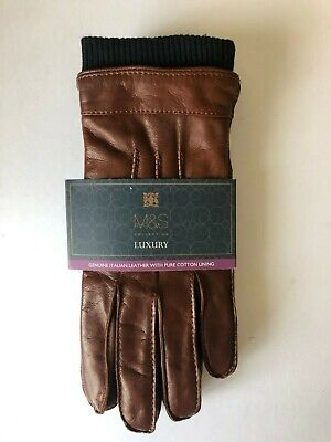 Marks And Spencer Luxurious Real Leather Mans Gloves ,Small.. Brown