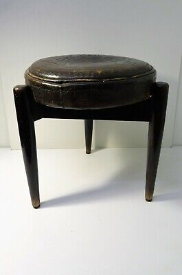 stool tripod wooden & leather scandinavian ? Vintage Design stool 60'S