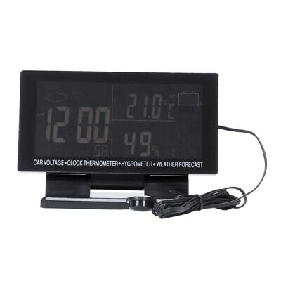 4 In 1 Digital Car Thermometer Hygrometer Dc 12V Lcd Vehicle Voltage Clock E2Q7