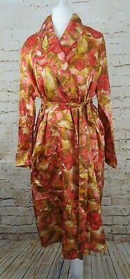VINTAGE 1960s TRICEL ABSTRACT FLORAL PRINT HOUSECOAT ROBE DRESSING GOWN SILKY
