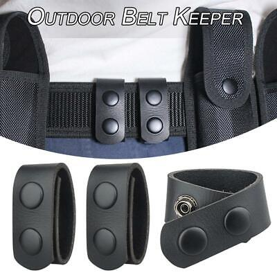 2pc Perfect Fit Genuine Leather Duty Belt Keepers Black Double Snap Belt Keepers