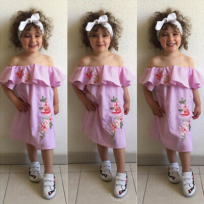 HOT Toddler Kids Baby Girls Clothes Striped Off-shoulder Embroidery Floral Dress