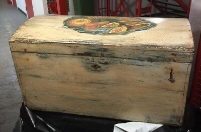 Antique French Blanket Box Chest Trunk Hand Painted VGC