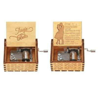 Retro Hand Cranked Wood Music Box Party Xmas Gift Household Decor Ornament #S5