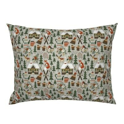 Winter Woodland Fox Deer Chalet Ski Christmas Alpine Pillow Sham by Roostery