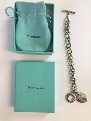 Tiffany & Co. Heart Tag Toggle Charm Bracelet 925 Sterling Silver Authentic 7.5