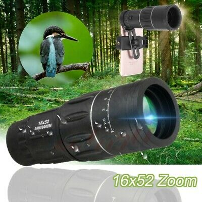 16x52 Zoom Dual Focusing Monocular Telescope Lens Camera HD Scope Phone Holder