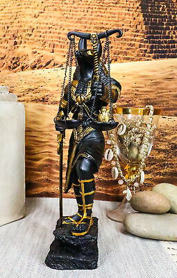 Ebros Egyptian God Anubis with Scales of Justice Statue (Black & Gold)