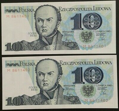 Poland _ 10 Zlotych banknotes x 2 consecutive _ UNC