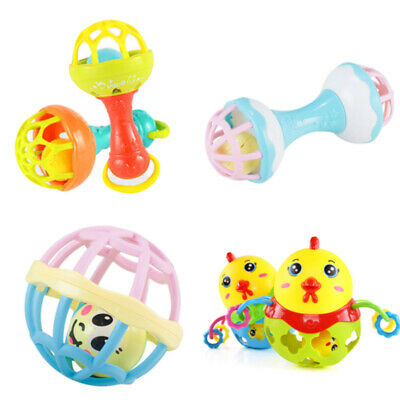 Early Learning Plastic Baby Rattles Cartoon Soft Gift Teether Stick Musical Toy