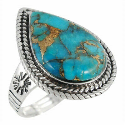 Antique Silver Women Men heart Turquoise Carved Finger Ring Party Jewelry Size10