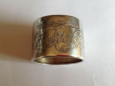 Antique Swedish solid 830 silver napkin ring. Circa 1910. Beautifully engraved.