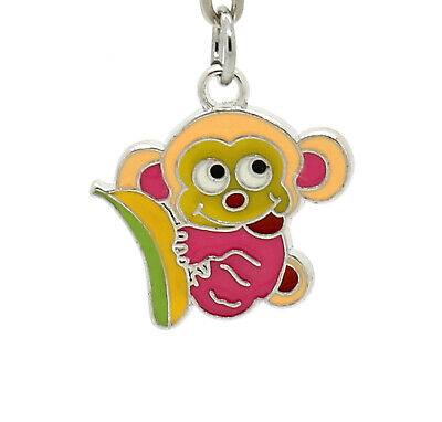 Funky Monkey With Banana Metal Enamel Silver Keyring Gift Idea For Him Her 20mm