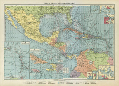 Central America Caribbean Gulf of Mexico chart Ports lighthouses LARGE 1952 map