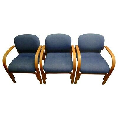 Midcentury Chairs Upholstered in Nubbly Fabric on Hardwood Frames, Set of 3