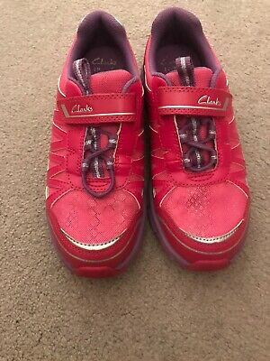 Girls Clarks Lights Pink Leather/Textile Trainers 1F