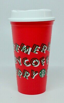 New Starbucks 2019 Christmas Merry Coffee Red Reusable 16 oz Holiday Cup & Lid