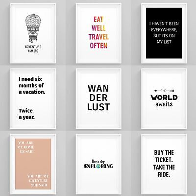 Inpirational Travel Quotes Framed Wall Art Prints Motivational Tavel Poster