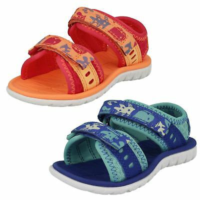 Girls Clarks Casual Strapped Sandals - Surfing Moon
