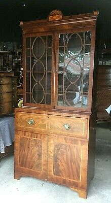 Georgian Inlaid Mahogany Secretaire Bookcase