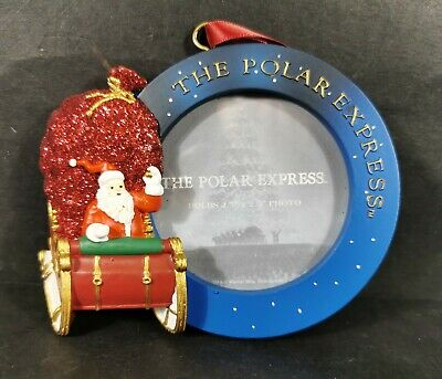 The Polar Express Santa and Sleigh Picture Frame Christmas Tree Ornament NEW