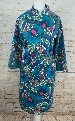 Vintage St Michael Cotton Psychedelic Floral Housecoat Robe Dressing Gown Mod