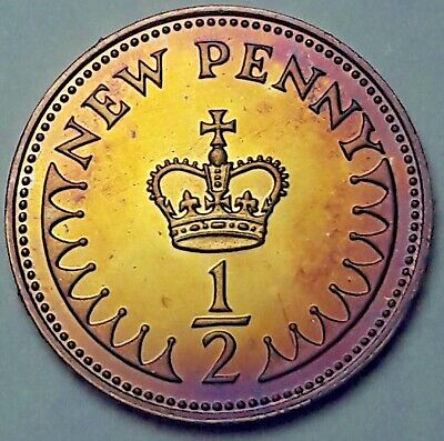 1977 Great Britain 1/2 Half New Penny Proof Flawless Color Unc Toned Bu Gem (Dr)