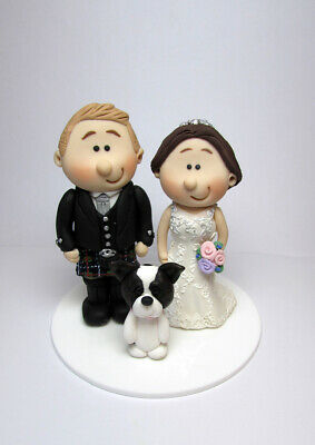 Personalised bride and groom wedding Cake topper with pet dog