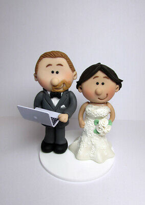 Personalised bride and groom  wedding Cake topper with a laptop