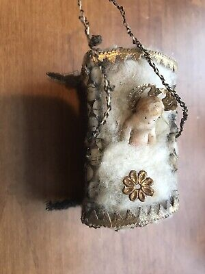 Antique German Sebnitz Crib With Wax Baby Jesus Dresden Trim Christmas Ornament