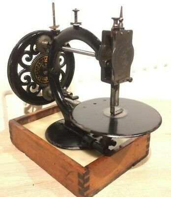 Antique Little Wanzer Time Utilizer Sewing Machine on Mable Base