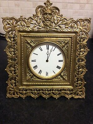 Antique Brass Strutt Mantel Clock French Movement