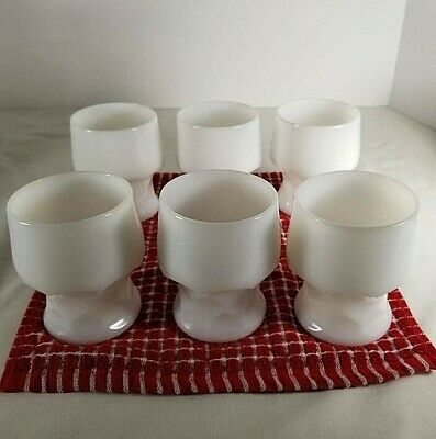 Vintage Anchor Hocking Georgian  White Milk Glass Honey Comb Tumblers Set Of Six