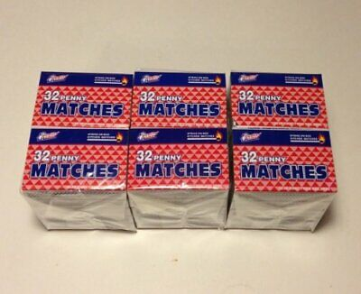 "30 Boxes Wooden Penny Matches 32 in each box for 960 Wood 2"" long Matches Total"