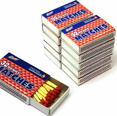 "10 Boxes Wooden Penny Matches 32 in each box for 320 Wood 2"" long Matches Total"