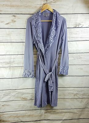 Guillaume Women's Home Jersey & Lace Robe in Lavender - Size Medium, XLarge