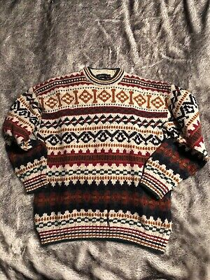 Vintage Retro Kitch 1980s Christmas Jumper Knitted Ugly Xmas Sweater Medium L